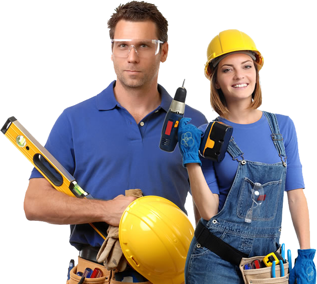 Man and woman construction