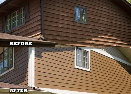 Siding plank before after